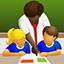 Imagem estilizada de um educador e de um aprendiz