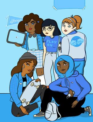 Imagem ilustrativa contendo várias meninas com tablets