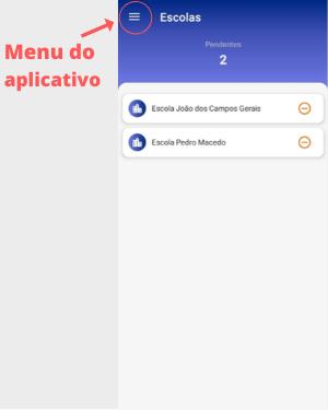 menu do aplicativo