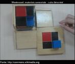 O cubo binomial é um cubo que tem as seguintes peças: um cubo vermelho, três prismas preto e vermelho, três prismas preto e azul, e um cubo azul. Uma caixa com oito prismas representa os elementos de (a + b) 3 ou: a3 + 3a2b + 3ab2 + b3  As peças são armazenadas em uma caixa com dois lados de abertura basculante. O padrão de cores do cubo é pintado em todo o exterior da caixa (exceto a parte inferior).  O material não é concebido como para o ensino de matemática até o ensino fundamental Montessori, pois para crianças de 3 a 6 anos é utilizado como matéria-sensorial.