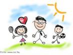 Desenho de uma família monoparental. É chefiada por um dos cônjuge por razão de ausência do outro.