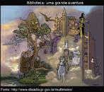 Ilustração que apresenta o mundo que pode ser encontrado em uma biblioteca.