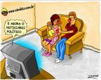Charge de Otávio Rios sobre a propaganda eleitoral e o descaso com o eleitorado.