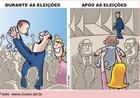 Charge que trata da relação do candidatos com eleitor antes e depois da eleição.