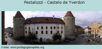 No Castelo de Yverdon funcionou a famosa escola de Pestalozzi. Em 1805 ele mudou-se para Yverdon, no Lago Neuchâtel, e por vinte anos dedicou-se ao seu trabalho continuamente. Ali era visitado por todos que se interessavam pela educação. Dentre seus discípulos incluem-se Carl Ritter, Froebel e Zeller. Em 1825, depois de 20 anos de atividade, deixa Yverdon, num clima de graves dissensões internas entre dois colaboradores da obra: Schmidt e Niederer, liderando cada um o seu grupo. Retorna a Neuhof e, já octogenário, num gesto nobilíssimo, procura empregar todo o dinheiro arrecadado do produto de seus livros na criação de um orfanato para crianças pobres.