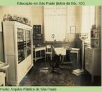 Gabinete dentário do 1º Grupo Escolar de Barretos. A foto está no relatório da Delegacia Regional de Jaboticabal, de 1942 .