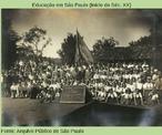 Demonstração física na festa comemorativa ao 7 de setembro, no Grupo Escolar Aurelio Arrobas, de Jaboticabal, em 1942.