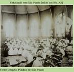Alunas e professor em sala de aula, em 1908.