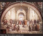 """Afresco Scuola Di Atenas (Acad. de Platão), 1510 de Rafael  """"Em 1509, o Vaticano encomendou a Rafael um afresco para decorar uma das salas do Palácio Apostólico. Rafael criou então uma obra que viria a se tornar a própria imagem do que significa Filosofia: A Escola de Atenas.  Rafael pintou a educação como ela deveria ser. Na Escola de Atenas as pessoas se encontram para conversar, discutir e refletir sobre novas maneiras de pensar, criar, trabalhar."""""""