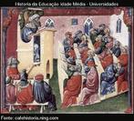"""""""Ao longo da Idade Média, era a Igreja que ministrava a educação. Os mosteiros, que tinham empunhado o facho da sabedoria e da erudição através da Era das Trevas, as catedrais e , gradualmente, as escolas paroquiais formaram uma rede que as autoridades tinham tentado manter durante séculos com êsito muito limitado."""" LOYN, H R Dicionário da Idade Média"""