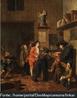 Meninos da escola, óleo sobre tela de Jan Josef Horemans the Younger do século 18.