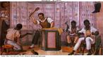 """O quadro """"Palmatória"""", de Debret, retrata escravos em um ambiente interno de trabalho, sendo que um deles é disciplinado com o instrumento punitivo palmatória, usado até o início do século XX nas escolas."""